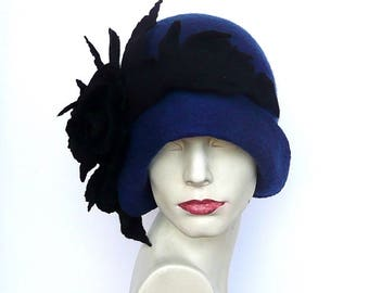 Blue Felted  Hat, felt hat ,Cloche Hat, 1920 Hat, Art hat, Blue Hat, Cloche Hat,1920's Hat,   Women's hat, felt hats, felted hats