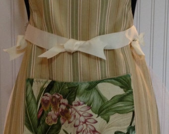 Full apron stripe cotton ticking - kaki green & tan cream grosgrain ribbon plumeria pocket