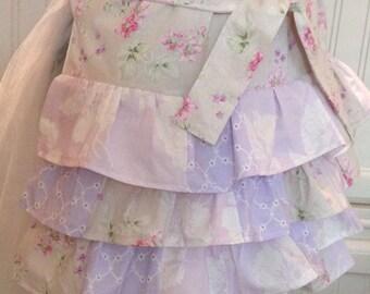 women's full apron lavender pink flowered hip ruffles ruffles ruffles lined