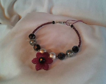 Pinkish Purple Flower Charm Bracelet