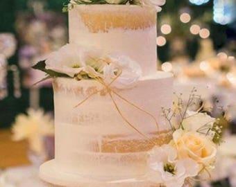 Wedding Cake topper reads: Mr & Mrs
