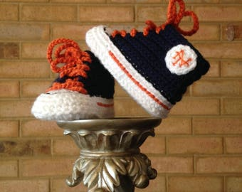 Crochet Baby SHOES, Baby Baseball shoes, New York METS inspired converse shoes (Handmade by me and not affiliated with the MLB)