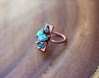SALE // Green Druzy Ring, Triple Stone Ring, Bar Ring