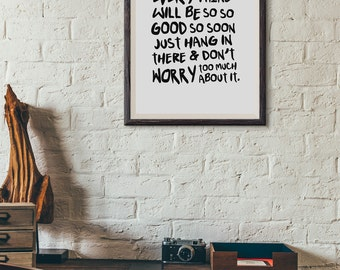 Don't Worry Be Happy Lyrics : Wall Decor Typography Print Inspirational Song Quote Poster