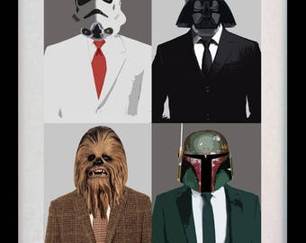 Star Wars Suited Characters (Limited Edition of 100) - A3 Star Wars Poster Art Vader Stormtrooper Boba Fett Print Fantasy Gift (ONLY 9 LEFT)