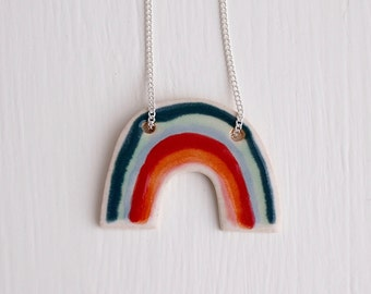Rainbow necklace, rainbow ceramic necklace statement pendant, rainbow necklace, statement jewellery, ceramic jewellery, pendant necklace