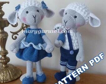 Crochet Pattern tutorial pattern family sheep Amigurumi pattern