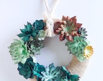 Paper Succulent Wreath