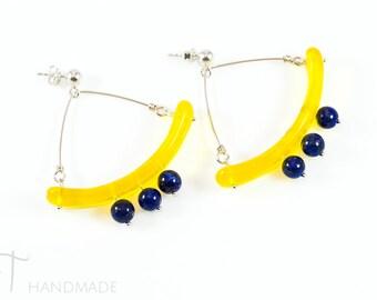 Murano glass bohemian earrings - Blue and yellow romantic earrings - Made in Italy ethnic earrings - Boho chic dangle gypsy earrings