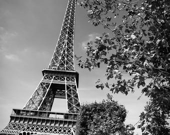 Eiffel Tower Digital Print - Paris Decor, Paris Digital Print, Black and White Digital Print - Paris Printable Art