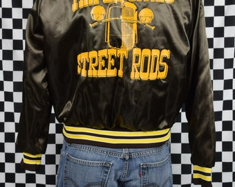 1980s Triple Cities Street Rods Jacket / Vintage Nylon Hot Rod Club Jacket / Karen / Brown with Yellow Striping / Car Club