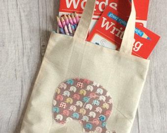Elephant Tote Bag, child's colouring bag, children's tote bag, child's elephant bag, kids bag, boys tote bag, girls tote bag, child's gift