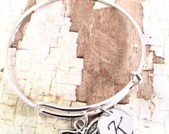 Little Girl bracelet,  initial charm bracelet, silver charm bracelet, butterfly charm bracelet, little girl jewelry, butterfly charm