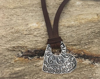 Valentines Necklace | Silver Heart Necklace | Silver Leather Necklace | Heart Pendant Boho Necklace | Silver Clay  | Valentines Jewelry