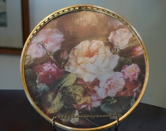 Vintage Garden Rose Melamine and Brass Tray/Made in England/Orchard/ Floral Tray