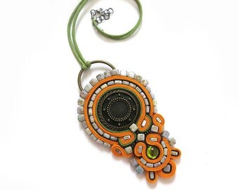 Soutache necklace orange Rustic jewelry pendant tribal necklace large rustic pendant boho jewelry ethnic pendant woman gift jewelry