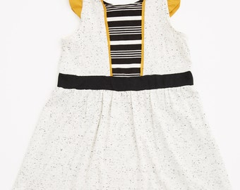 VIREVENT - short-gathered sleeves dress - mustard yellow, textured white with striped print