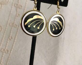 Black and white Enamel Earrings, Cloisonne Dangle Earrings, vintage enamel earrings, white and black enamel earrings, cloisonné  116