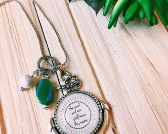 """Words on Necklace, Anchor Necklace,  """"The wind & waves still know His Name"""" Song Lyric Necklace, It is Well Necklace, Sentimental Necklace"""