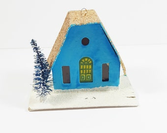 Vintage Putz House Christmas Ornament. Blue and Gold Mica Glitter Cardboard House. Made in Japan. Bottled Brush Tree. Christmas Decor.