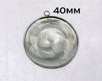 1 x Stainless Steel Round 40mm Cabochon Pendant Bezel Settings