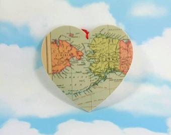 Alaska Map Wooden Hanging Heart