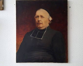 Oil on canvas Portrait of the family priest signed to 1900-20770