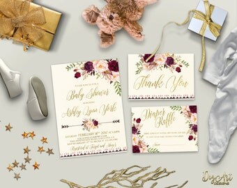 Floral Gold Baby Shower Invitation Printable Boho Baby Shower Invite Burgundy Blush Baby Shower Digital Invites - Printing Service Available