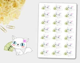 PAYDAY Stickers and Cat Bianca, Planner Stickers, PAYDAY, Cash, Finance, Pay