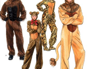 08 Simplicity 2853 Andrea Schewe, Tiger, Bear, Lion and Gorilla Costumes, Fancy Dress, Uncut, Factory Folded, Sewing Pattern Size XS-XL