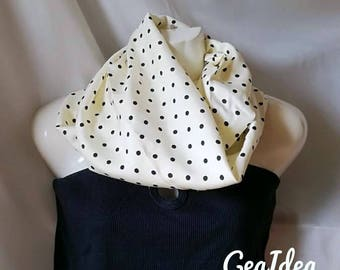 Infinity Scarf beige and pois black