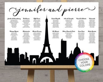 Paris seating chart city skyline France french destination wedding seat plan, world cities silhouette ANY city Eiffel Tower Parisian DIGITAL