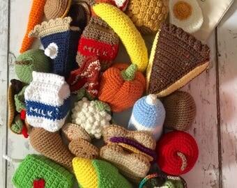 Play Food, Crochet Food, 32 piece Crochet Food Play Set, Play Food, Crochet Veggies, Crochet Fruit, Crochet Food Toy