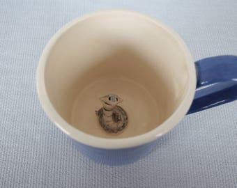 Mug ceramic blue coffee cup with cobra royal - tiled snake animal figurine miniature surprise mug