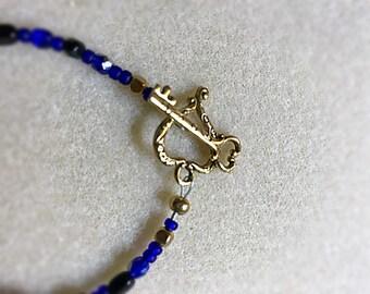 Cobalt Blue Bracelet with Heart Toggle