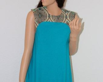 Boho mini dress turquoise Paisley Muster buttons hippie chic seventies style 70's flower power retro vintage dress sleeveless ethnic women