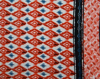"""Dressmaking Fabric, Ikat Print, White Fabric, Home Accessories, Rayon Fabric, Sewing Decor, 50"""" Inch Fabric By The Yard ZBR378A"""