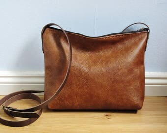 Brown leather crossbody bag, real leather, small slouchy cross body, shoulder bag, leather purse, zipper top