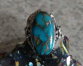 Copper Blue Turquoise Ring Size 7 1/2