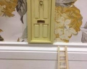 Fairy Door - Dollhouse Door hand painted pale yellow