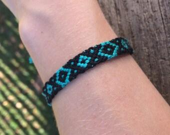 Black and Green Diamond Pattern Friendship Bracelet