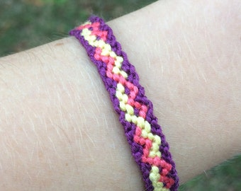 Purple, Pink, and Yellow Friendship Bracelet- Small