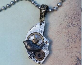 Bird Steampunk Necklace, Bird Necklace, Steampunk Jewelry, Antique Elgin Steampunk Necklace, Unisex Necklace , Animal Steampunk Jewelry