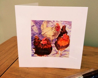 Greetings card Hens in the Snow blank, free p&p