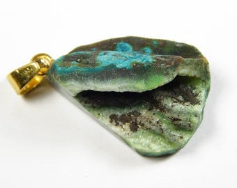 1 Pc - 25x20x16mm Titanium Crystal Agate Freeform Druzy Pendant - Gemstone Pendant - Jewelry Supplies