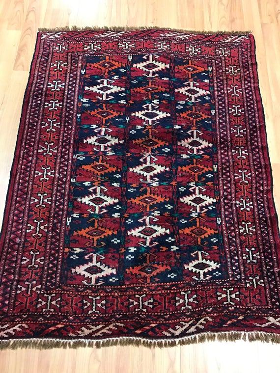 "2'6"" x 3'2"" Persian Turkeman Oriental Rug - 1950s - Hand Made - 100% Wool"