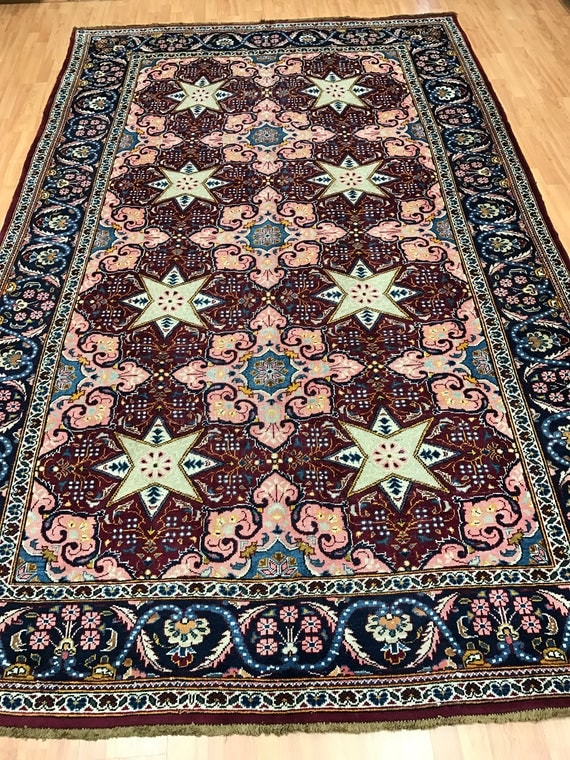 "6'10"" x 10'10"" Antique Persian Kashan Oriental Rug - 1920s - Hand Made - 100% Wool"