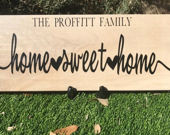 Home Sweet Home Family Sign on Faux Wood Tile - Home Decor - Wall Decor - Home Sweet Home - Wall Sign - Faux Wood Tile - Family Sign