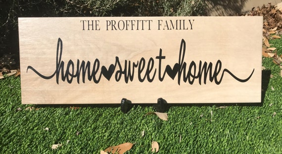 Home Sweet Home Family Sign On Faux Wood Tile Home Decor Wall Decor