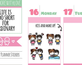 Button & Cork - Kiss and Make Up Planner Stickers (A03)
